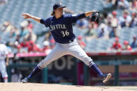 Seattle Mariners starting pitcher Logan Gilbert throws to a Los Angeles Angels batter during the first inning of a baseball game in Anaheim, Calif., Sunday, July 18, 2021. (AP Photo/Alex Gallardo)