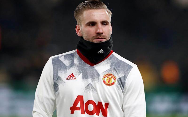 Manchester United's Luke Shaw during the warm up before the EFL Cup Semi Final - Credit: PA