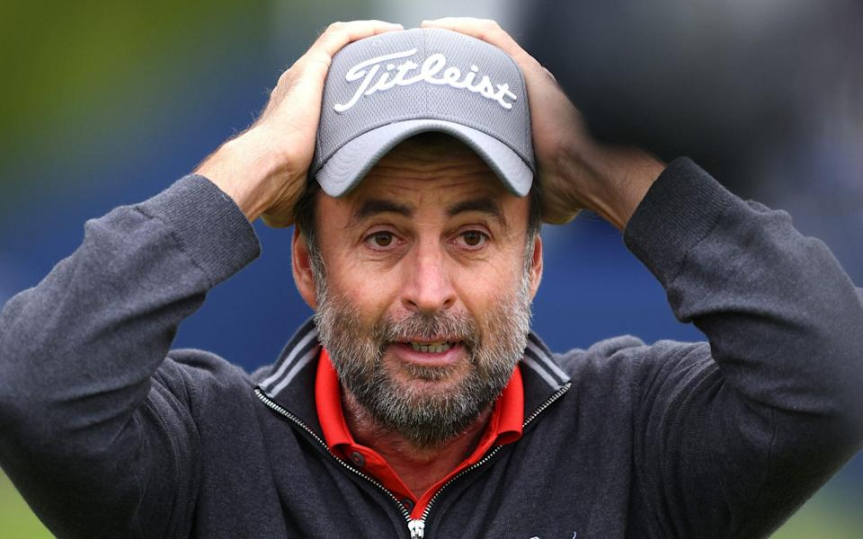 Richard Bland the moment he realises he's just broken his title duck at the age of 48 - GETTY IMAGES