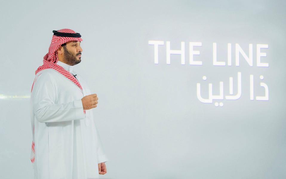 """Saudi Crown Prince Mohammed Bin Salman announces a zero-carbon city called """"The Line"""" to be built at NEOM in northwestern Saudi Arabia - Reuters/Reuters"""