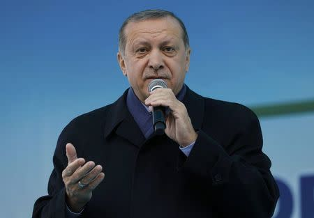 Turkish President Erdogan addresses his supporters during a rally for the upcoming referendum in the Black Sea city of Rize