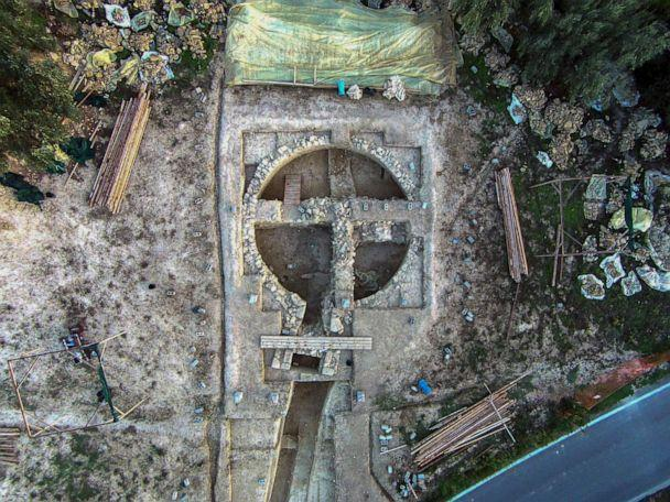 PHOTO: A view from above of a 3,500-year-old tomb discovered near the southwestern Greek town of Pylos. (Greek Culture Ministry via AP)