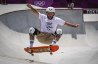 Dallas Oberholzer, 46, from South Africa, takes part in a men's park skateboarding training session at the 2020 Summer Olympics, Saturday, July 31, 2021, in Tokyo, Japan. The age-range of competitors in skateboarding's Olympic debut at the Tokyo Games is remarkably broad and Oberholzer will go wheel-to-wheel with skaters less than half his age. (AP Photo/Ben Curtis)