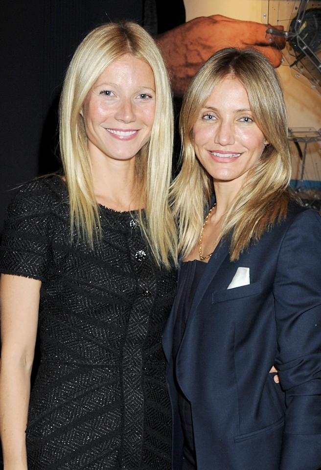 LONDON, ENGLAND - OCTOBER 05:  (EMBARGOED FOR PUBLICATION IN UK TABLOID NEWSPAPERS UNTIL 48 HOURS AFTER CREATE DATE AND TIME. MANDATORY CREDIT PHOTO BY DAVE M. BENETT/GETTY IMAGES REQUIRED)  Gwyneth Paltrow (L) and Cameron Diaz attend a drinks reception to officially launch Mayfair's 'The Arts Club' hosted by Prince Philip, Duke of Edinburgh, on October 5, 2011 in London, England.  (Photo by Dave M. Benett/Getty Images)