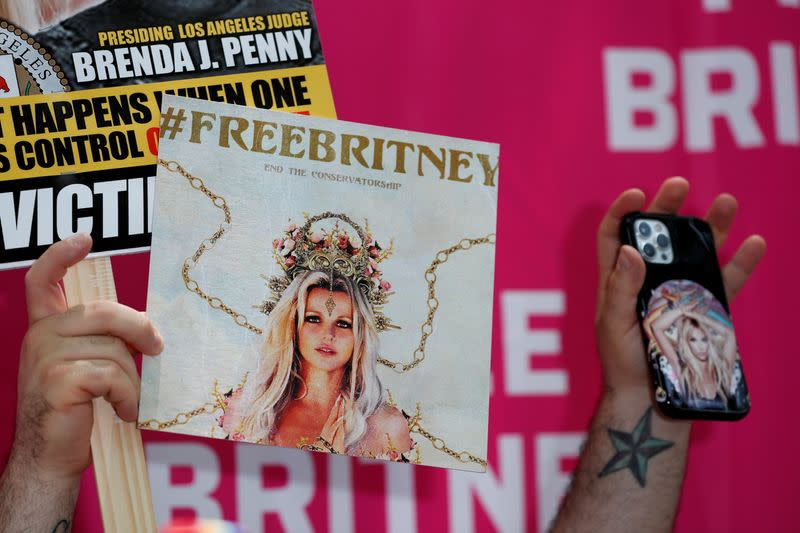FILE PHOTO: Protest in support of pop star Britney Spears on the day of a conservatorship case hearing in Los Angeles