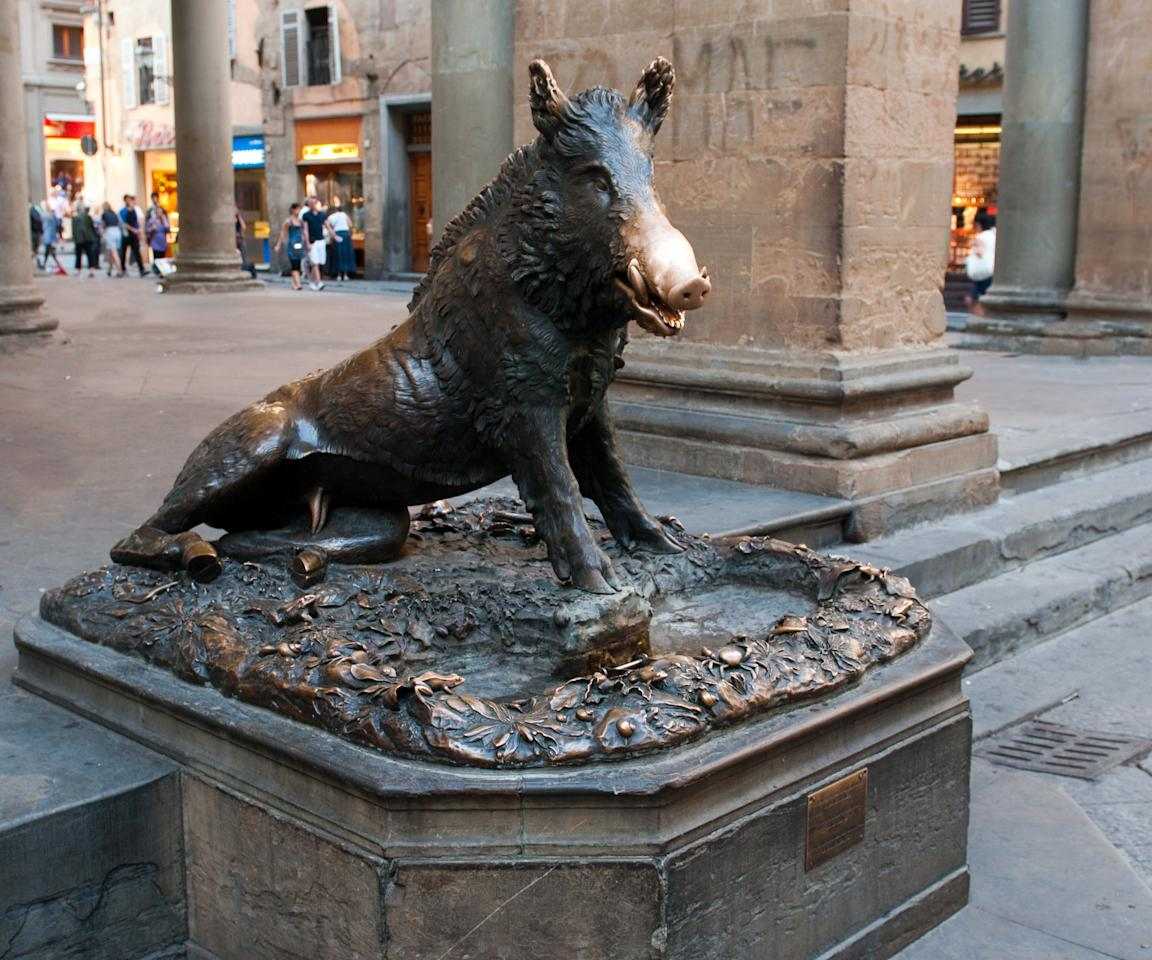 """<p>Sculpted by Baroque master Pietro Tacca, a bronze fountain of a boar is said to bring good luck — and a return trip to Florence (<a rel=""""nofollow"""" href=""""http://www.brides.com/story/unique-anniversary-date-ideas?mbid=synd_yahootravel"""">anniversary trip</a>?) — when you rub his snout and put a coin in his mouth. If you visit, stay at Il Salviatino, a 15th century villa overlooking the city of Florence, where a team of service ambassadors is available to customize every honeymoon experience. Like, for instance, a visit to the Piazza del Mercato Nuovo to visit Il Porcellino, home of said bronze boar fountain.</p>"""