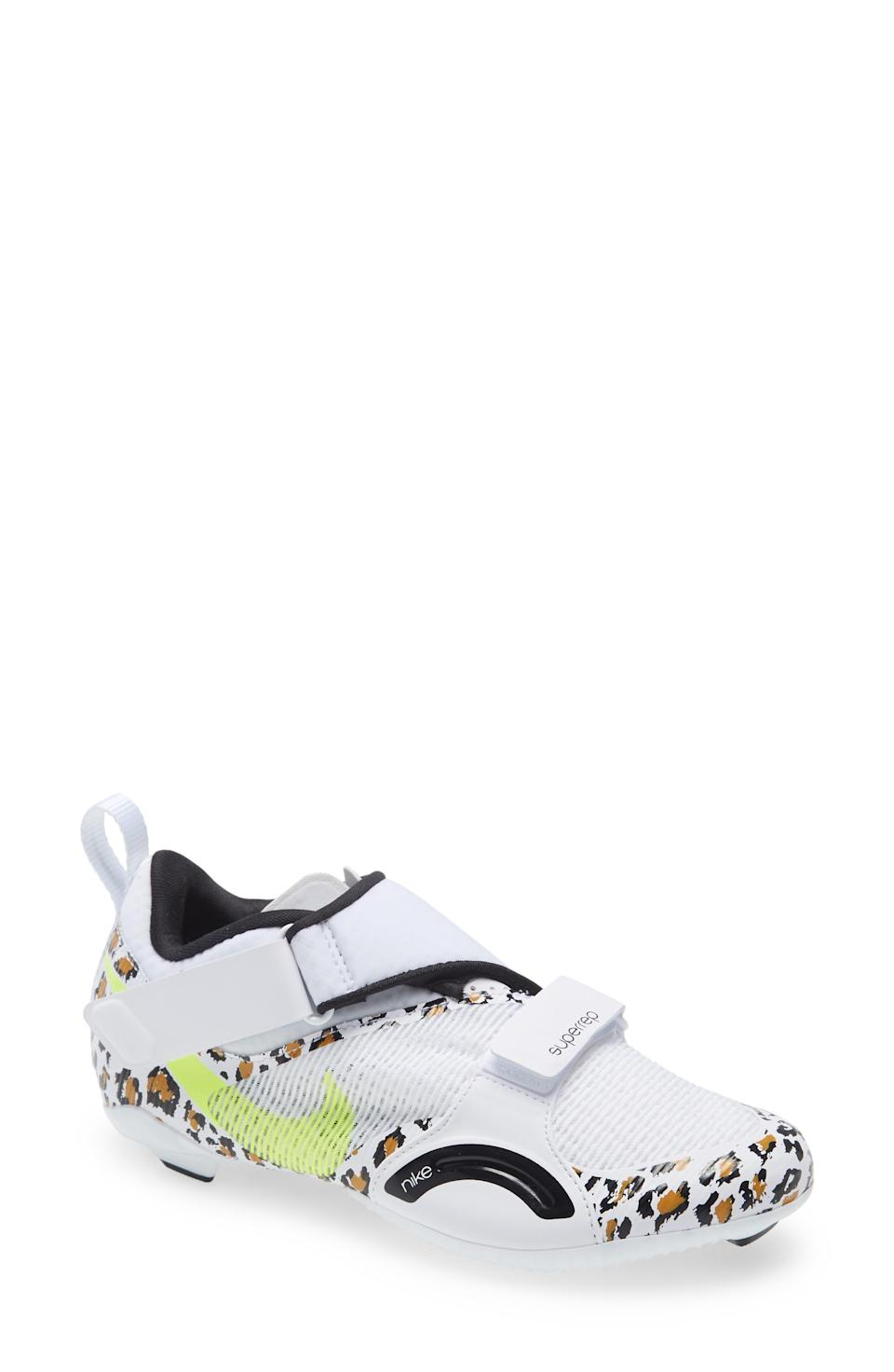 """<p><strong>NIKE</strong></p><p>nordstrom.com</p><p><strong>$120.00</strong></p><p><a href=""""https://go.redirectingat.com?id=74968X1596630&url=https%3A%2F%2Fwww.nordstrom.com%2Fs%2Fnike-superrep-cycle-shoe-women%2F5436365&sref=https%3A%2F%2Fwww.womenshealthmag.com%2Ffitness%2Fg37001763%2Fpeloton-shoes%2F"""" rel=""""nofollow noopener"""" target=""""_blank"""" data-ylk=""""slk:Shop Now"""" class=""""link rapid-noclick-resp"""">Shop Now</a></p><p>If you want to go with a tried-and-true brand pick, you might want to check out these (super cute) Nike SuperRep shoes. Lightweight, breathable, and designed with easy Velcro straps, the shoe comes in mint green, hyper crimson, and a clean and simple white.</p><p><strong>Reviewer rave: </strong>""""A+ cycle shoe for my Peloton. I love them. Tons of cushion and good support."""" <em>— lovejlove14, nordstrom.com</em><br></p>"""