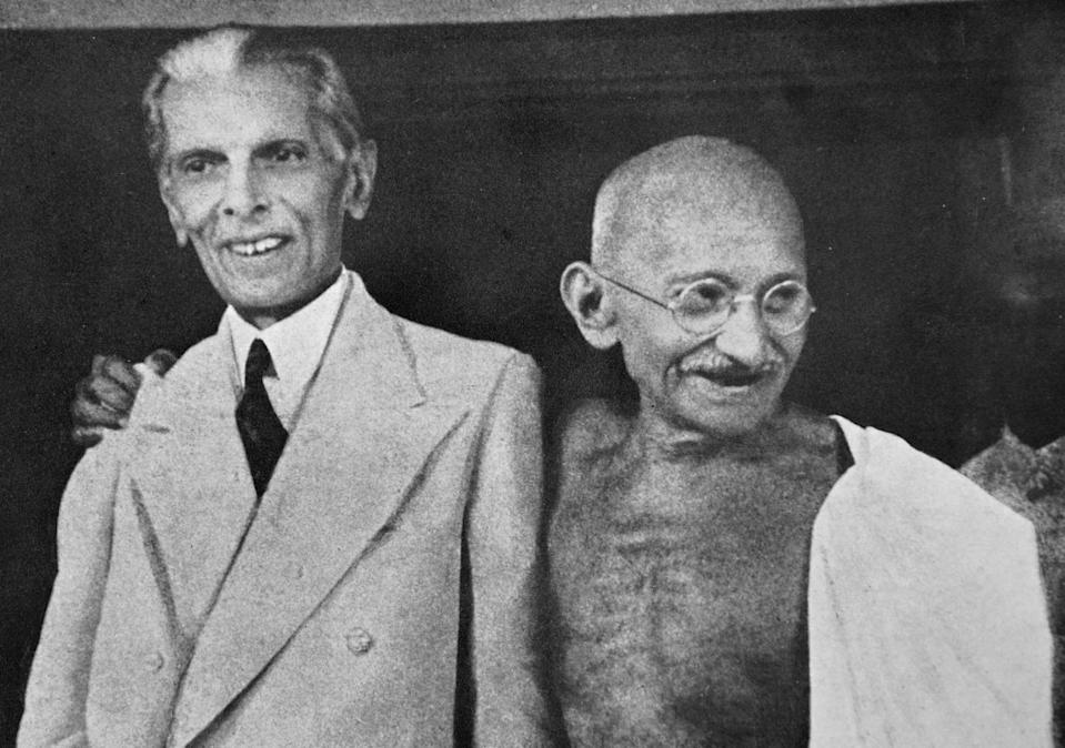Mohandas Karamchand Gandhi (1869 - 1948) and Mohammed Ali Jinnah, during their talks in Mumbai (Bombay) 1944. Jinnah became the first leader of Pakistan. Gandhi was the preeminent leader of the Indian independence movement in British-ruled India. (Photo by: Universal History Archive/ Universal Images Group via Getty Images)