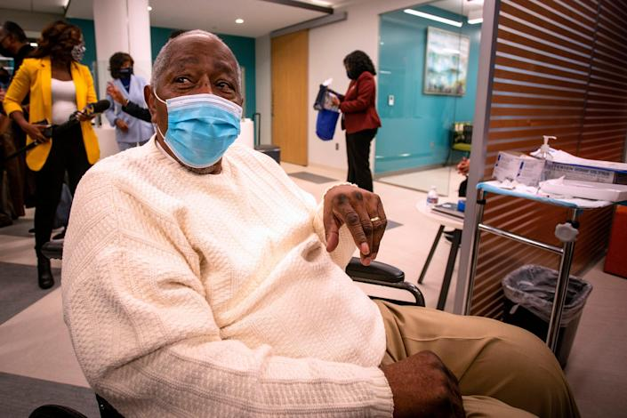 Aaron waits to receive his COVID-19 vaccination at Morehouse on Jan. 5, 2021.