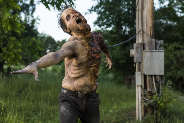 <p>A Walker in AMC's <i>The Walking Dead</i>.<br>(Photo: Jackson Lee Davis/AMC) </p>