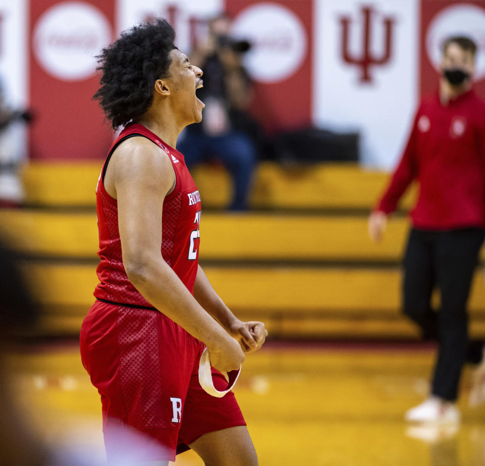 Rutgers guard Ron Harper Jr. (24) reacts to his team's defeat of Indiana in an NCAA college basketball game, Sunday, Jan. 24, 2021, in Bloomington, Ind. (AP Photo/Doug McSchooler)