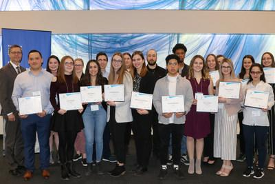 Cégep de Sainte-Foy scholarship recipients with Denis Ricard, President and Chief Executive Officer of iA Financial Group (CNW Group/Industrial Alliance Insurance and Financial Services Inc.)