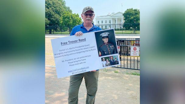 PHOTO: Joey Reed the father of former Marine Trevor Reed, who has been detained in Russia since 2019 in Moscow, protests outside of the White House, July 6, 2021. (Beatrice Peterson/ABC News)