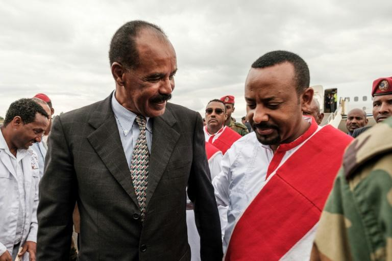 Partners in peace: Eritrean President Isaias Afwerki, left, arrives in Ethiopia on November 9 2018, welcomed by Prime Minister Abiy Ahmed (AFP Photo/EDUARDO SOTERAS)