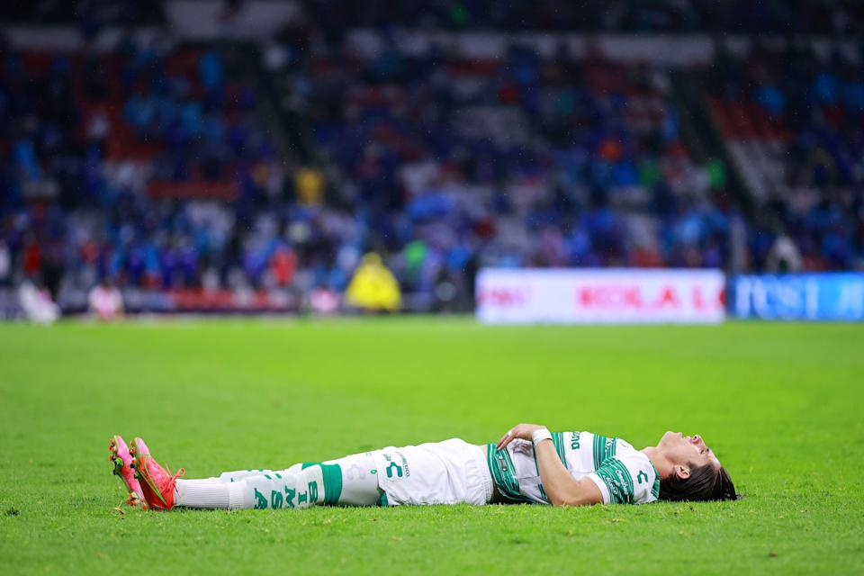 MEXICO CITY, MEXICO - MAY 30: Alan Cervantes of Santos Laguna lies on the grass during the Final second leg match between Cruz Azul and Santos Laguna as part of Torneo Guard1anes 2021 Liga MX at Azteca Stadium on May 30, 2021 in Mexico City, Mexico. (Photo by Hector Vivas/Getty Images)