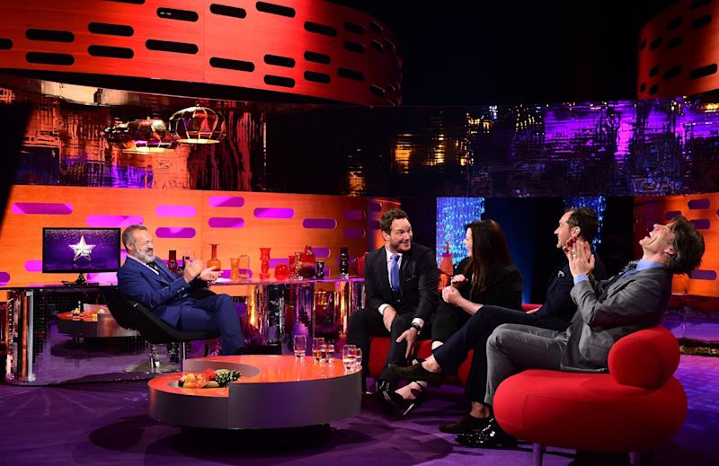 (L-R) Host Graham Norton, Chris Pratt, Melissa McCarthy, Jude Law and John Bishop during filming of the Graham Norton Show (Photo: PA Archive/PA Images)