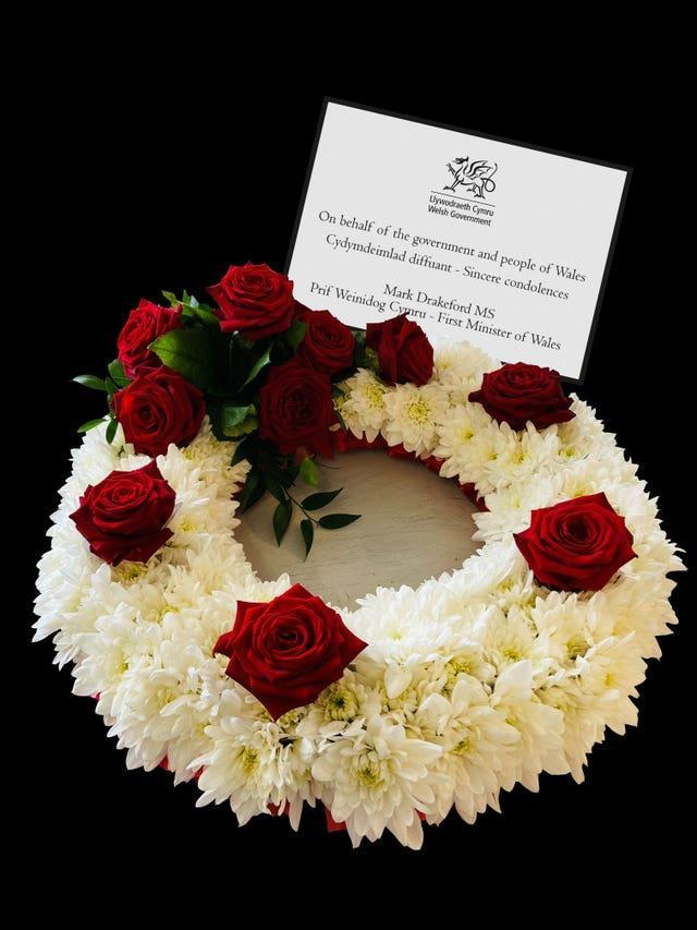 A flower wreath sent, by First Minister of Wales Mark Drakeford on behalf of the government and people of Wales, to the Duke of Edinburgh's funeral service