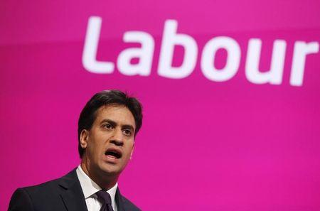 """Ed Miliband, leader of Britain's opposition Labour Party, sings """"Jerusalem"""" as his party's conference is closed in Manchester"""