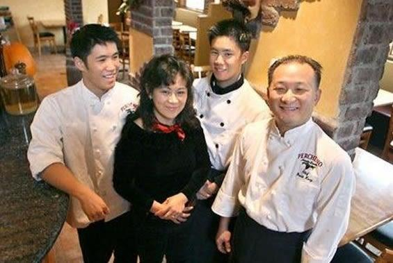 A teenage Chris Kong with his family at their Italian restaurant in Seattle, Washington.