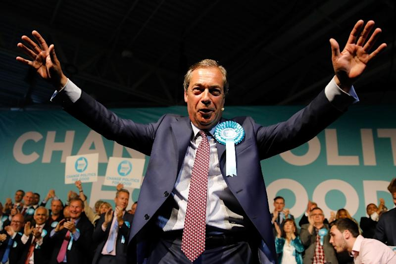 Nigel Farage's Brexit Party is expected to do well in the EU elections (AFP Photo/Tolga AKMEN)