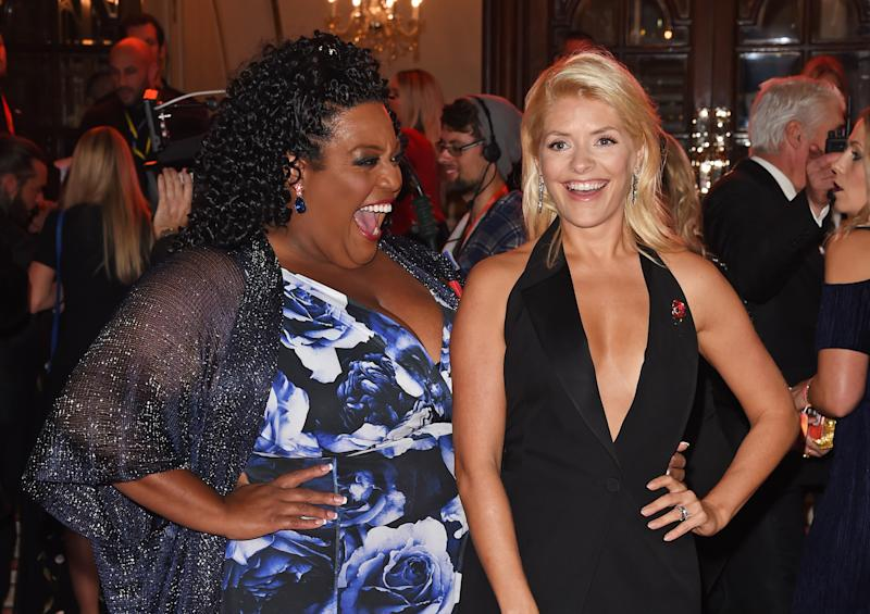 LONDON, ENGLAND - NOVEMBER 09: Alison Hammond (L) and Holly Willoughby attend the ITV Gala held at the London Palladium on November 9, 2017 in London, England. (Photo by David M. Benett/Dave Benett/Getty Images)
