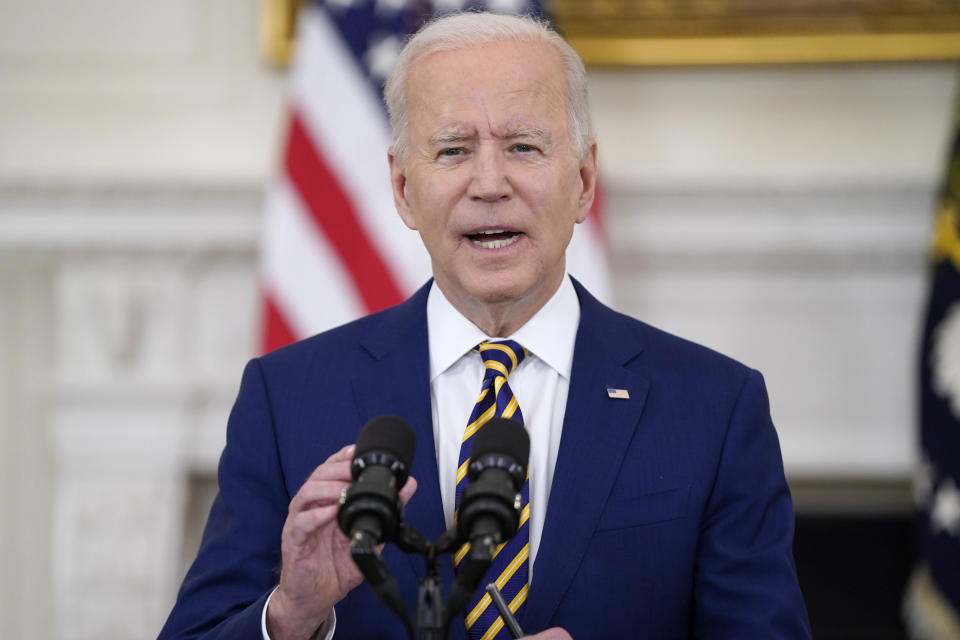 President Joe Biden speaks about reaching 300 million COVID-19 vaccination shots, in the State Dining Room of the White House, Friday, June 18, 2021, in Washington. (Evan Vucci/AP)