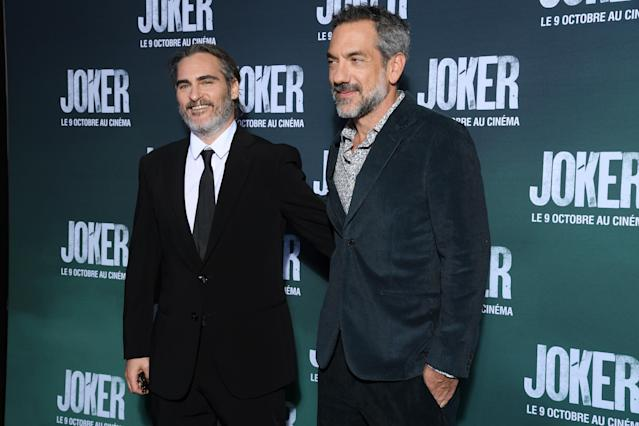 """Joaquin Phoenix and Todd Phillips attend the """"Joker"""" Premiere on September 23, 2019 in Paris, France. (Photo by Pascal Le Segretain/Getty Images)"""