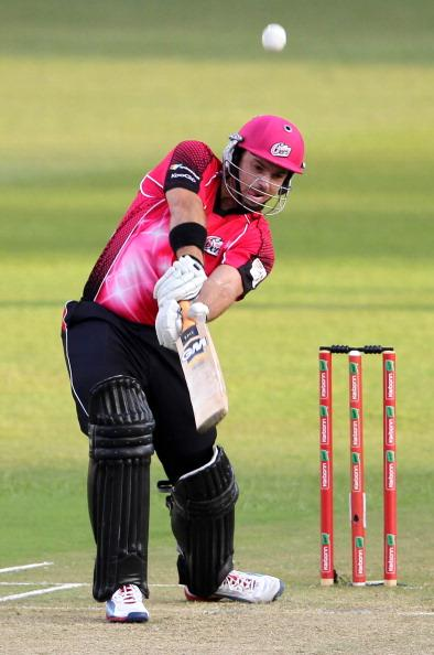 DURBAN, SOUTH AFRICA - OCTOBER 22:  Michael Lumb of Sydney in action during the Champions League twenty20 match between Sydney Sixers and Mumbai Indians at Sahara Stadium Kingsmead on October 22, 2012 in Durban, South Africa. (Photo by Anesh Debiky / Gallo Images/Getty Images)