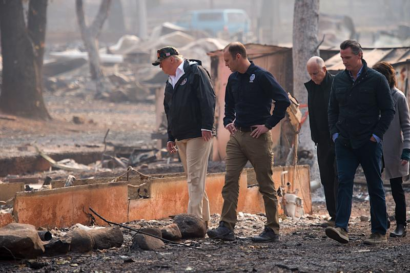 President Donald Trump toured areas affected by the deadly wildfires on Saturday. (Pool via Getty Images)