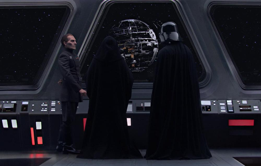 <p>As the Clone Wars end and Emperor Palpatine exerts his control over the galaxy, he orders construction of the ultimate battle station, the Death Star, seen here in the closing moments of <i>Revenge of the Sith</i>, where Palpatine, Grand Moff Tarkin, and Darth Vader admire its construction. (Photo: Lucasfilm) </p>