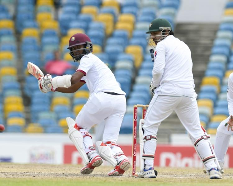 Kraigg Brathwaite (L) of West Indies hits against Pakistan on May 3, 2017