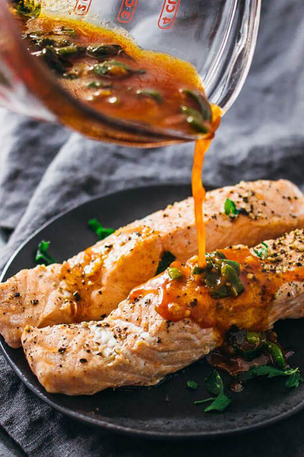 """<p>You'll love the flavors in this sweet and zesty salmon dish, but our favorite part is that it cooks in just five minutes.</p><p><strong>Get the recipe at <a rel=""""nofollow"""" href=""""https://www.savorytooth.com/instant-pot-salmon/"""">Savory Tooth</a>.</strong></p>"""