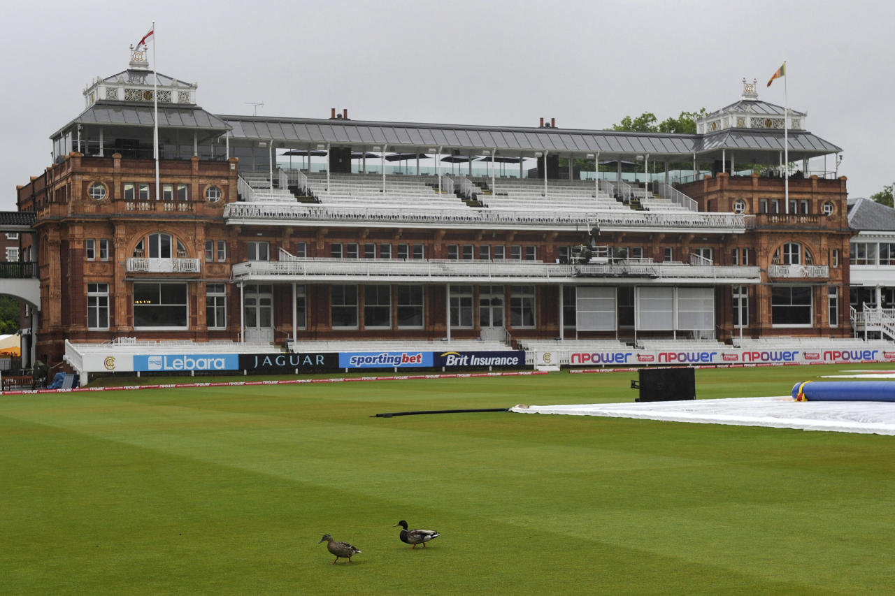 Two ducks walk in front of the pavilion before the start of the 4th day of the second Test match between England and Sri Lanka at Lord's cricket ground, London, Monday June 6, 2011. Heavy rain soaked London early Monday before the scheduled start of play.
