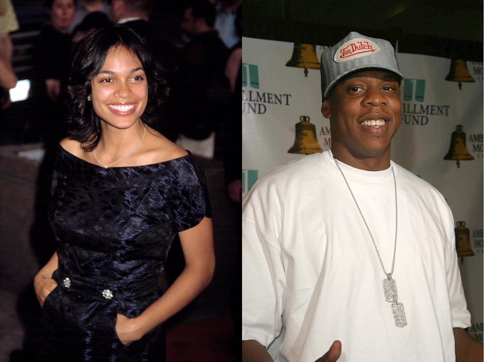 Rosario Dawson and Jay Z in the early 2000s