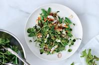 """Who says gremolata has to have parsley and lemon? No one who's tried this crunchy Thai-influenced pea salad recipe. <a href=""""https://www.bonappetit.com/recipe/snap-pea-salad-with-coconut-gremolata?mbid=synd_yahoo_rss"""" rel=""""nofollow noopener"""" target=""""_blank"""" data-ylk=""""slk:See recipe."""" class=""""link rapid-noclick-resp"""">See recipe.</a>"""