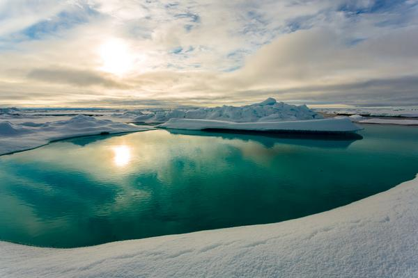 A melt pond in the Arctic ice.