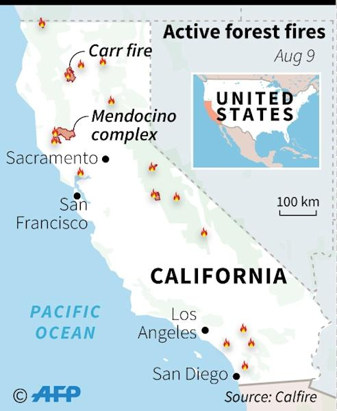 Map of California showing active wildfires, as of August 9, 2018 (AFP Photo/Laurence CHU)