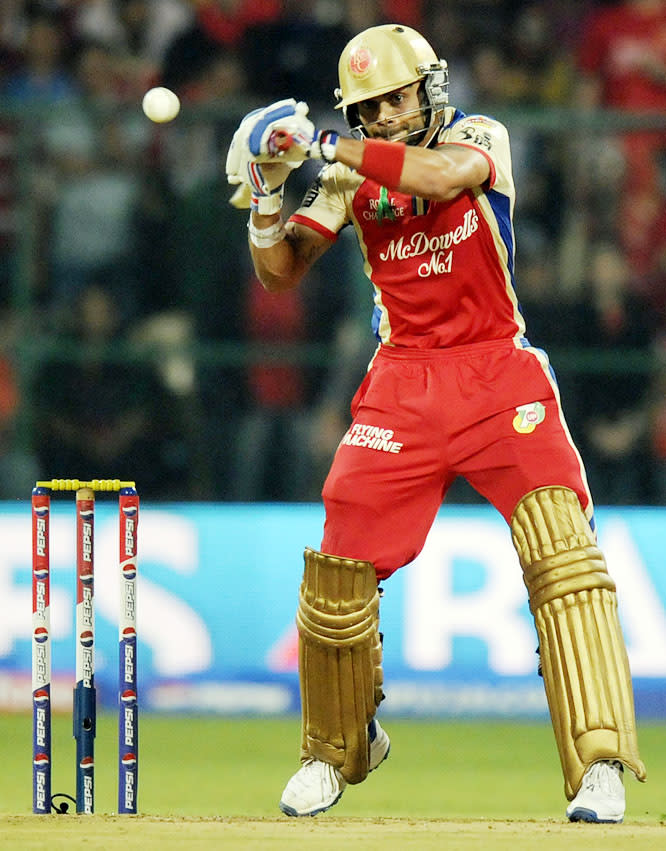 Virat Kohli captain of Royal Challengers Bangalore bats during match 70 of the Pepsi Indian Premier League between The Royal Challengers Bangalore and The Chennai Superkings held at the M. Chinnaswamy Stadium, Bengaluru  on the 18th May 2013. (BCCI)