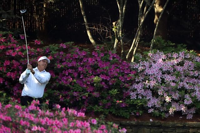 Phil Mickelson of the U.S. hits off the 13th tee during the second day of practice for the 2018 Masters golf tournament at Augusta National Golf Club in Augusta, Georgia, U.S. April 3, 2018. REUTERS/Lucy Nicholson