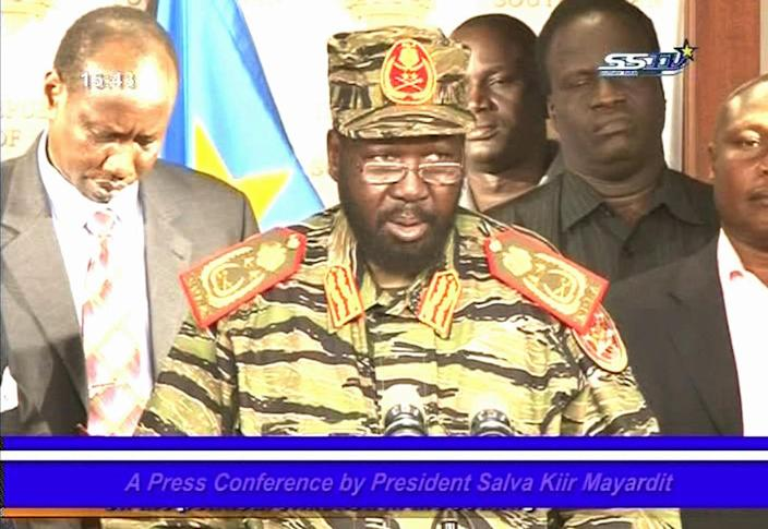 """President of South Sudan Salva Kiir wearing army fatigues speaks in this still taken from a televised address in Juba South Sudan Monday Dec. 16, 2013. Kiir said that the military had foiled a coup orchestrated by """"a group of soldiers allied with the former vice president."""" The soldiers had attacked the South Sudanese military headquarters near Juba University late Sunday, sparking sporadic clashes that continued Monday. (AP Photo South Sudan TV) TV OUT"""