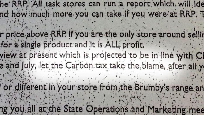 Brumby's under fire over 'blame carbon tax' memo
