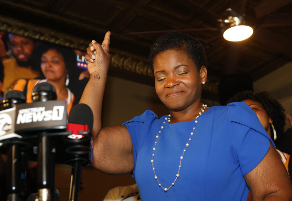 Democratic Buffalo mayoral primary candidate India Walton delivers her victory speech after defeating incumbent Byron Brown, on Tuesday, June 22, 2021 in Buffalo, N.Y. The 38-year-old nurse and union leader pulled off the surprise victory with the backing of the Democratic Socialists of America in a campaign focused on affordable housing, health care and criminal justice reform.(Robert Kirkham/The Buffalo News via AP)
