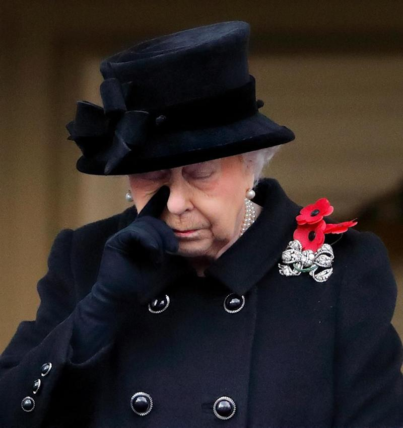 She appeared to wipe away a tear from her face. Photo: Getty Images