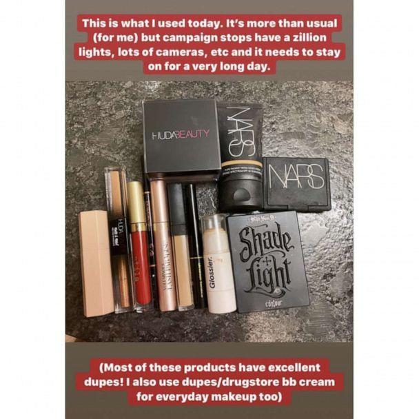 PHOTO: Rep. Alexandria Ocasio-Cortez posted this image with details about her makeup routine to Instagram before a campaign rally for Bernie Sanders in Los Angeles, Dec. 21, 2019. (ocasio2018/Instagram)