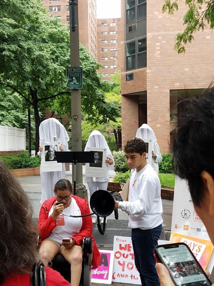"<span class=""s1"">Daphne Frias, a youth activist who started Box the Ballot and is now helping Future Coalition stage Walkout to Vote in New York City, speaks at a rally she organized for the National March on the NRA in August. (Photo: Daphne Frias)</span>"