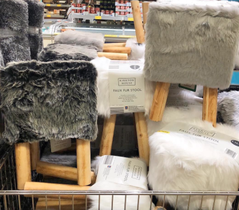 Faux Fur bar stools in Aldi UK shopping centre