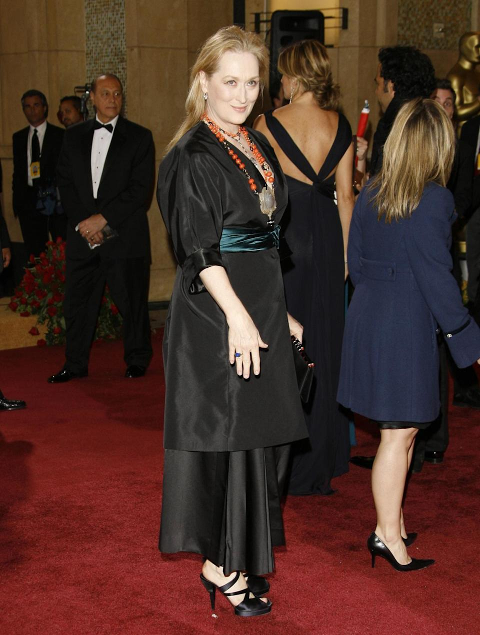 <p>In a cheeky homage to her nomination for <i>The Devil Wears Prada,</i> Streep wore (what else?) Prada.</p>