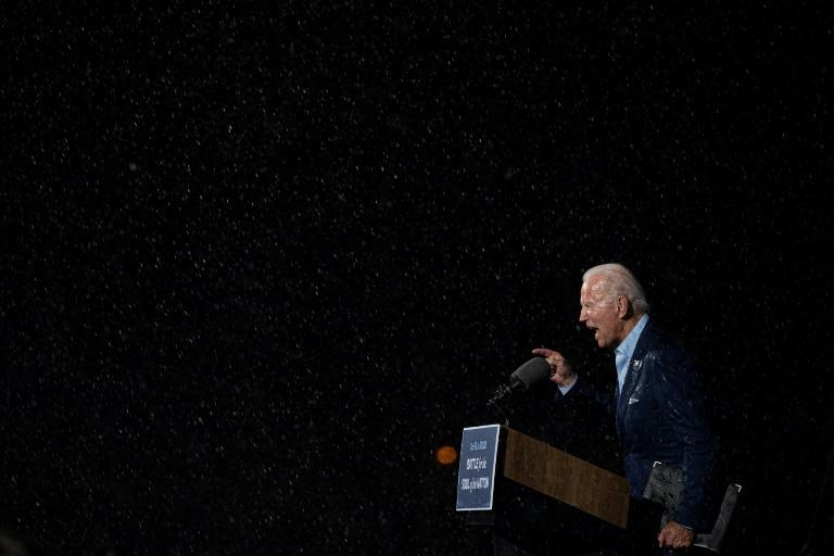 Former vice-president Joe Biden, the Democratic presidential nominee, got caught in a rainstorm as he addressed voters in Tampa, Florida just five days before the US election on November 3, 2020