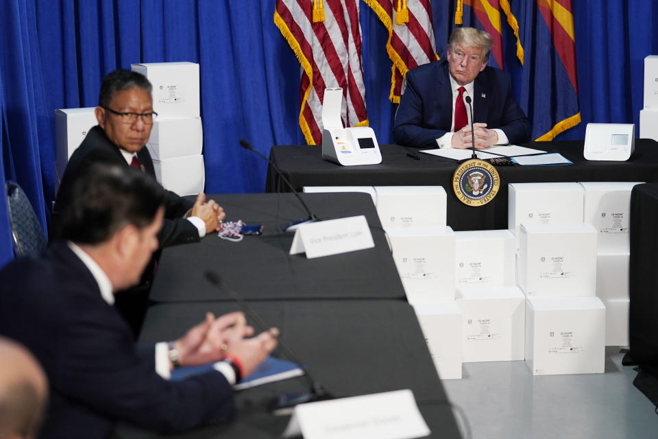 President Donald Trump speaks during a roundtable on supporting Native Americans, Tuesday, May 5, 2020, in Phoenix. (AP Photo/Evan Vucci)