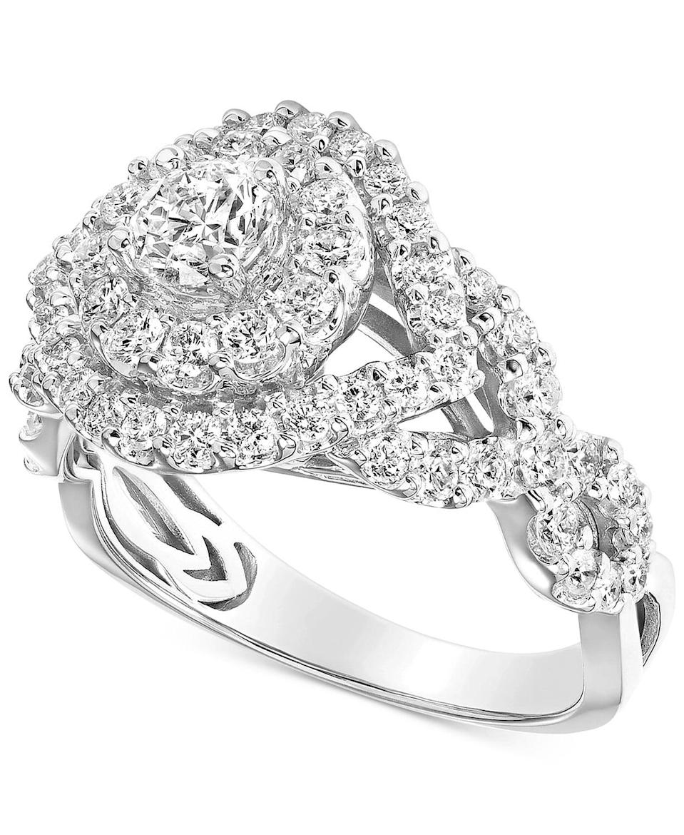 <p>There's no better option than this standout <span>Diamond Halo Braided Shank Engagement Ring</span> ($3,200, originally $6,596).</p>